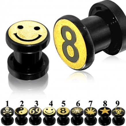 Gold Laser Logo Black UV Ear Flesh Tunnel