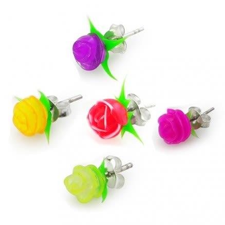 Silicone Rose Ear Stud