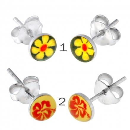 Flower Logo Silver Earring