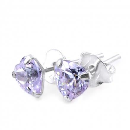 5mm Heart CZ Silver Earring