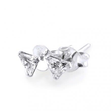 4mm Trilion CZ Silver Earring