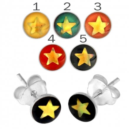 Hand Painted Star Silver Earring