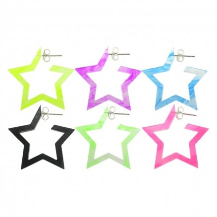 16mm UV React Fashionable Pentagon Star Earring