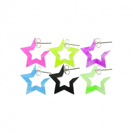 6mm UV React Fashionable Pentagon Star Earring