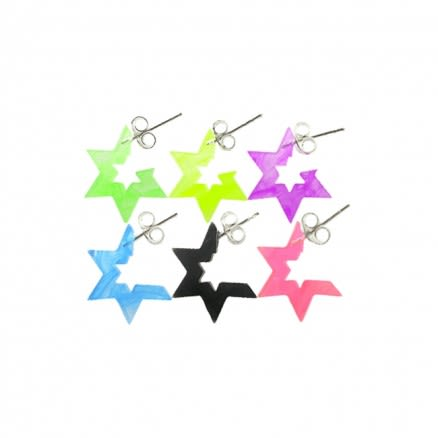 6mm UV React Fashionable Hexagon Star Earring