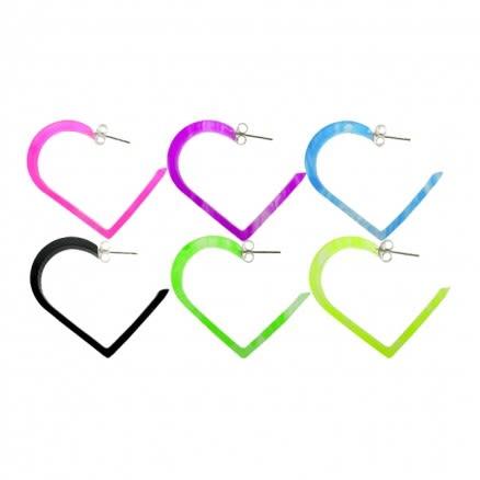 30mm UV React Fashionable Heart Earring