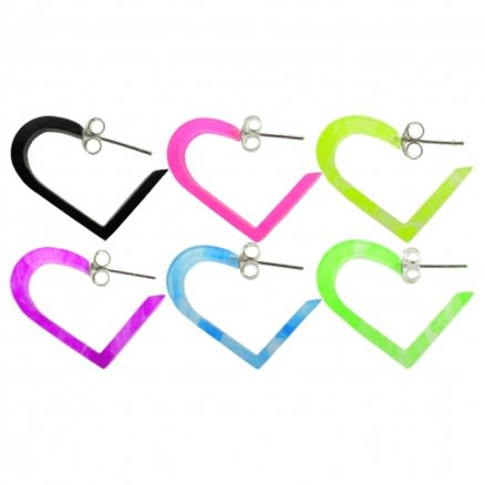 18mm UV React Fashionable Heart Earring