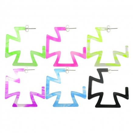 28mm UV React Fashionable Iron Cross Earring