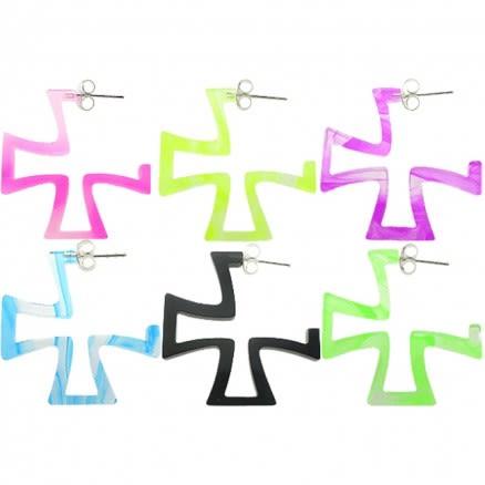 22mm UV React Fashionable Iron Cross Earring