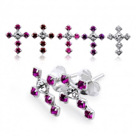 Jeweled Cross Silver Earring