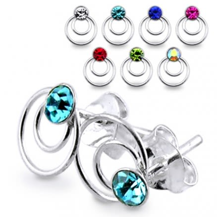 Jeweled Rings Silver Earring