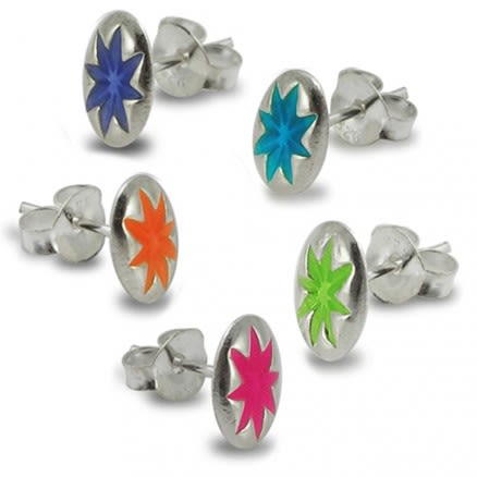 Hand Painted Flower Silver Earring