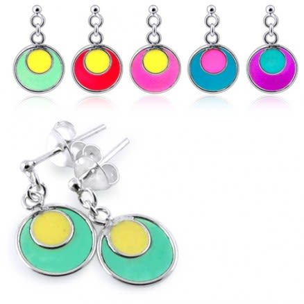 Painted Moon Dangling Earring