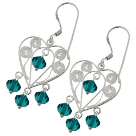 Crystal Beads Heart Earring