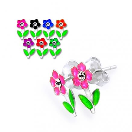 Flower with leafs Silver Earring