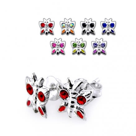 925 Sterling Silver Stem Butterfly Studs