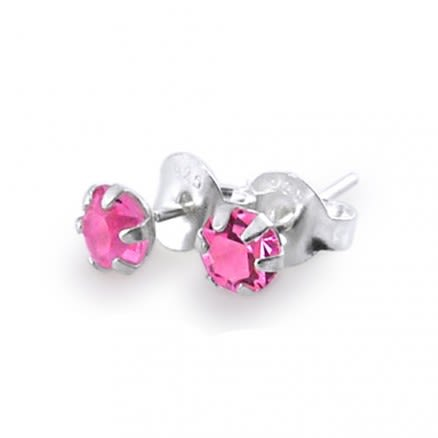 4mm Fancy Jeweled Silver Earring