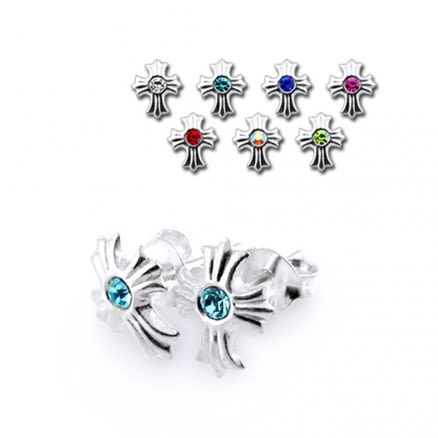 Jeweled Silver Earring