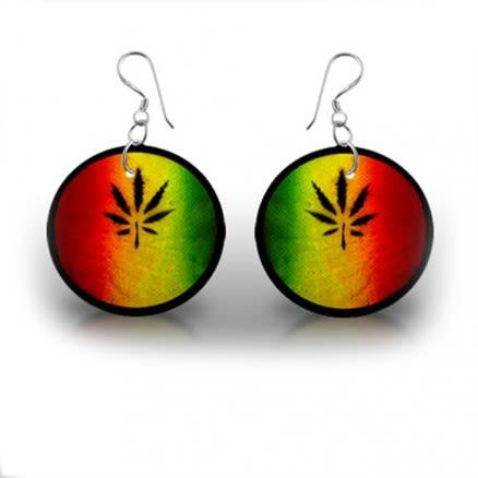 Marijuana leaf Logo Earring