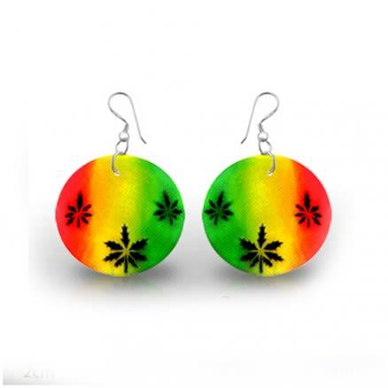 Marijuana Leaf Logo Silver Earring PACEAR359
