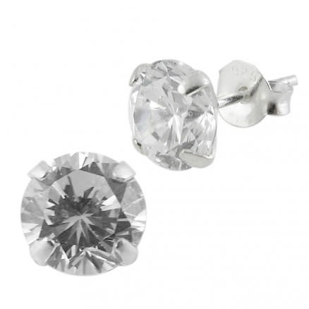 925 Sterling Silver Round CZ Earring
