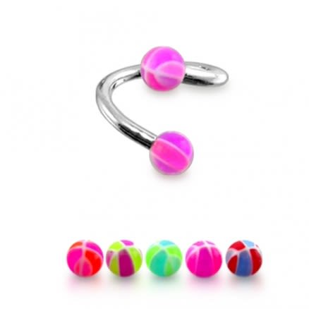 Sugical steel Eyebrow Twisted Bar with UV ball