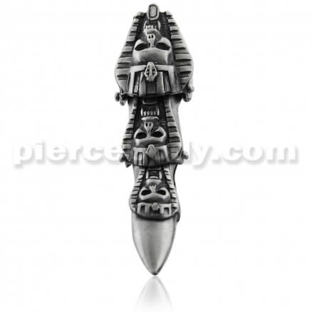 Full Finger Pewter Tri Skull Mummy Armor Ring