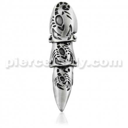Full Finger Pewter Carved Scorpion Armor Ring