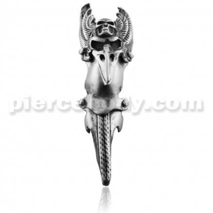 Full Finger Pewter Pterodactyl with Skull Armor Ring