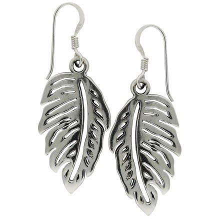 925 Sterling Silver Leaf Fish Hook Earring