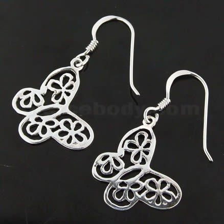 925 Sterling Silver Flowers Cut out Butterfly Earring