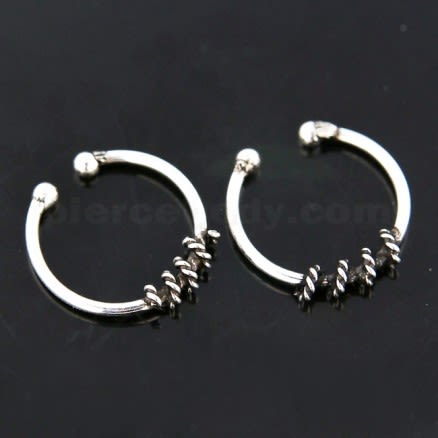Flexible Sterling Silver Circular Rope Fake Septum Piercing