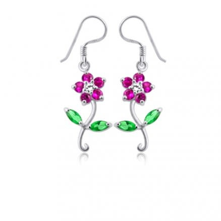 925 Sterling Silver Flower Charm Dangle Earrings