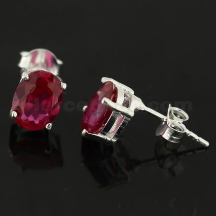925 Sterling Silver Single Jeweled Fancy Ear Stud