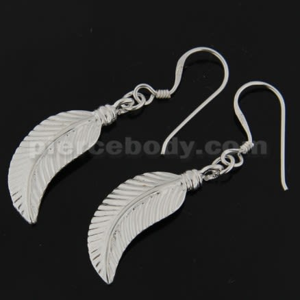 925 Sterling Silver Linear Leaf cute Ear Ring