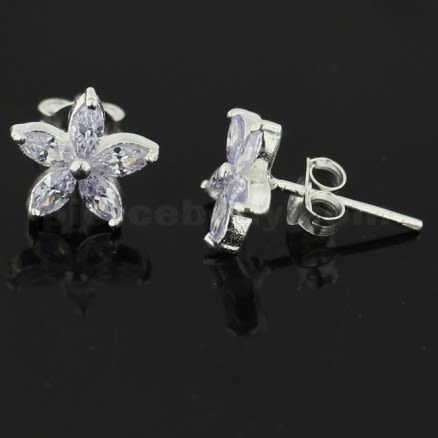 925 Sterling Silver Jeweled Fancy Flower Filigree Ear Ring