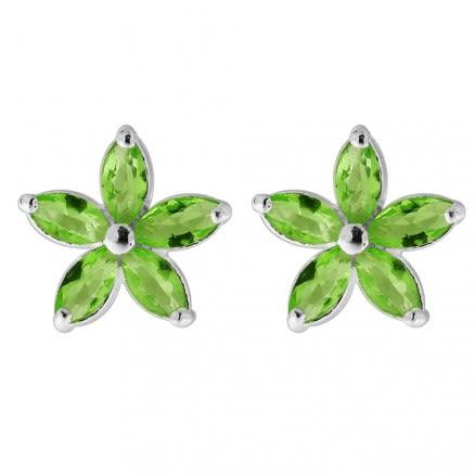 925 Sterling Silver Jeweled Fancy Flower Filigree Ear Ring