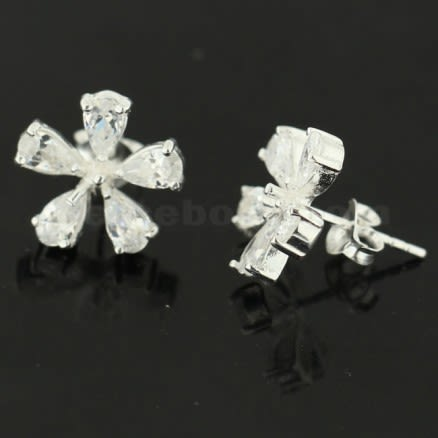 925 Sterling Silver Jeweled Flower Ear Stud