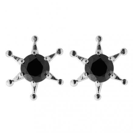 925 Sterling Silver Jeweled Fancy Star Ear Stud