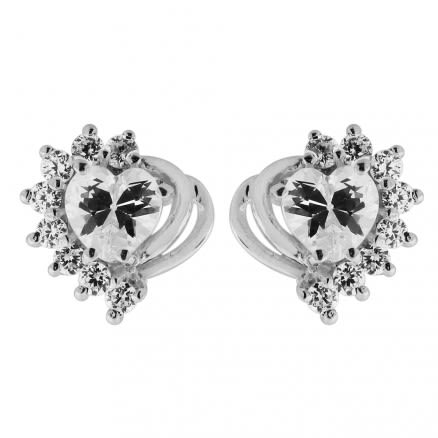 Jeweled Heart cut out 925 Sterling Silver Ear Stud Ear Ring