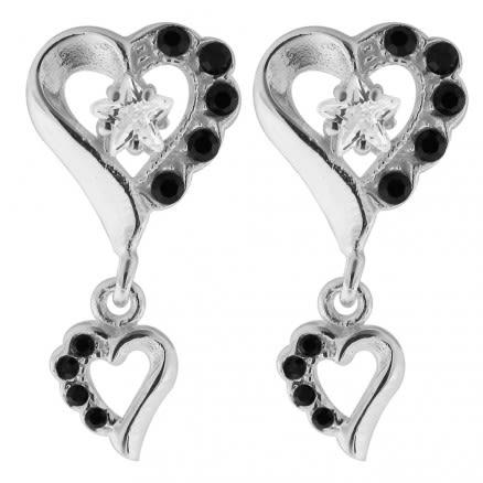 Dangling Jeweled Heart 925 Sterling Silver Ear Stud Ear Ring