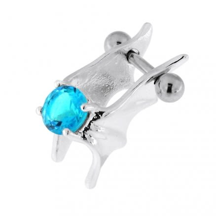 925 Sterling Silver Jeweled Bat Wings Cartilage Tragus Piercing