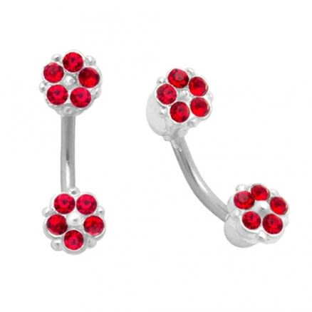 Jeweled Twin Flower Eyebrow Ring