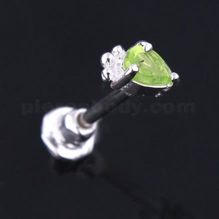 925 Sterling Silver Jeweled Crown Cartilage Tragus Piercing