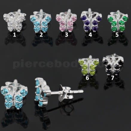 925 Sterling Silver Jeweled Tiny Butterfly Ear Stud Earring