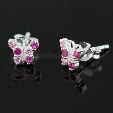 925 Sterling Silver Mixed Colors Tiny Butterfly Ear Stud Earring
