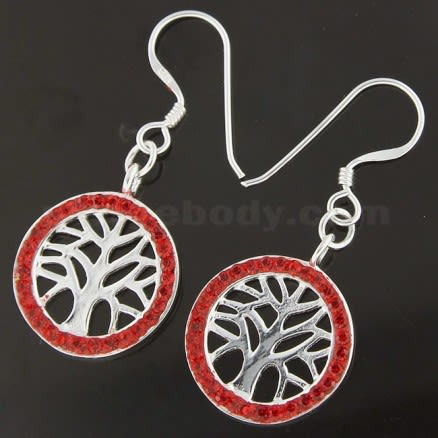925 Sterling Silver Multi jeweled Tree of Life Hook Earring