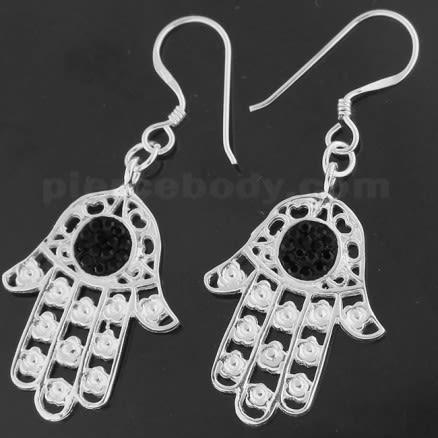 925 Sterling Silver Center jeweled Hamsa Hand Hook Earring