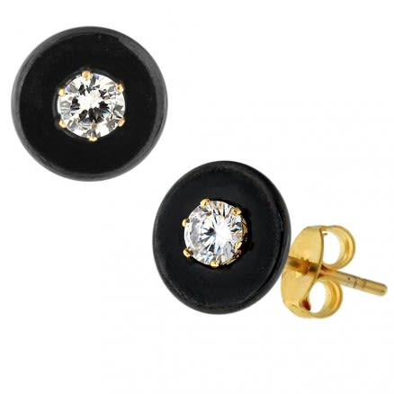 Black Round CERAMIC with CZ Gold Platted Sterling Silver Ear Stud