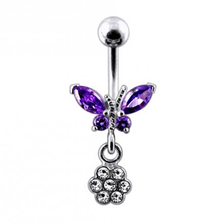 Moving Jeweled Butterfly with Flower Belly Ring